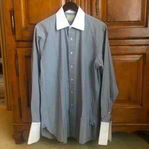 Drake's Contrast Collar Grey Dress Shirt, 16 by 41